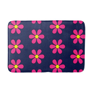 Retro Pink Daisy Summer Bathroom Rug Bath Mat Bath Mats