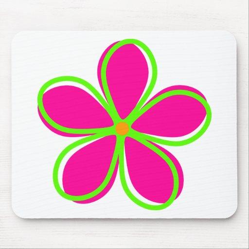 Retro Pink Flower Mousepad