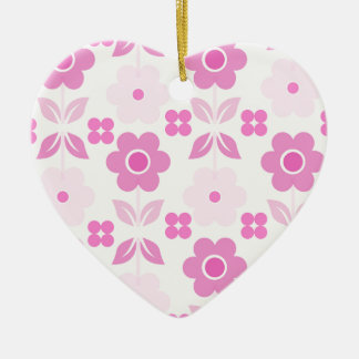 Retro Pink Flowers Dble-sided Heart Ornanent Christmas Ornament