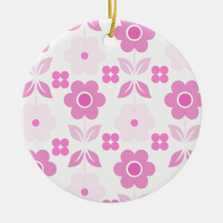Retro Pink Flowers Dble-sided Ornament