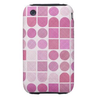 Retro Pink Geometric Pattern iPhone 3 Tough Cases