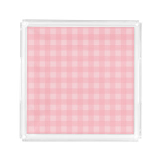 Retro Pink Gingham Checkered Pattern Background Acrylic Tray