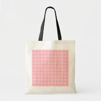 Retro Pink Gingham Checkered Pattern Background Budget Tote Bag