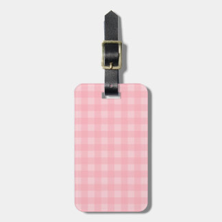Retro Pink Gingham Checkered Pattern Background Bag Tag