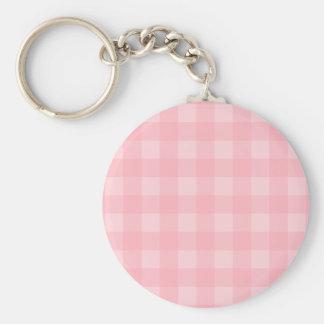 Retro Pink Gingham Checkered Pattern Background Basic Round Button Key Ring