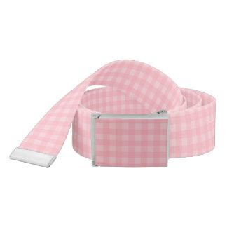 Retro Pink Gingham Checkered Pattern Background Belt