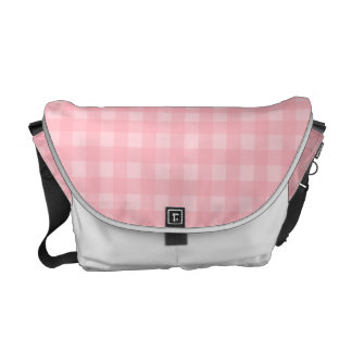 Retro Pink Gingham Checkered Pattern Background Commuter Bags