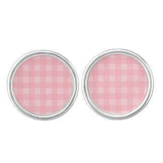 Retro Pink Gingham Checkered Pattern Background Cuff Links
