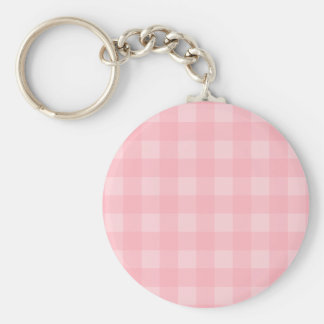 Retro Pink Gingham Checkered Pattern Background Basic Round Button Key Ring