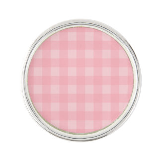 Retro Pink Gingham Checkered Pattern Background Lapel Pin