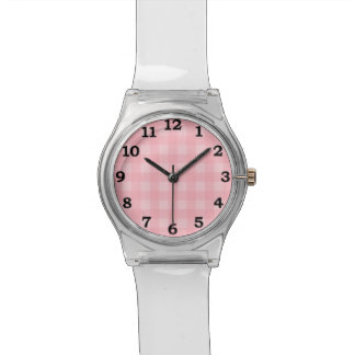 Retro Pink Gingham Checkered Pattern Background Watch