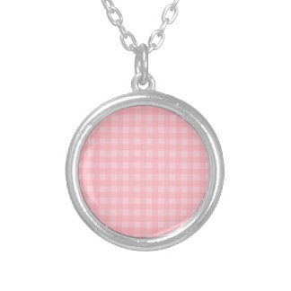 Retro Pink Gingham Checkered Pattern Background Round Pendant Necklace
