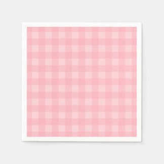 Retro Pink Gingham Checkered Pattern Background Paper Napkin