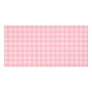 Retro Pink Gingham Checkered Pattern Background Photo Greeting Card