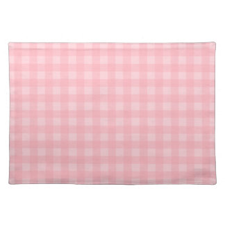 Retro Pink Gingham Checkered Pattern Background Placemat