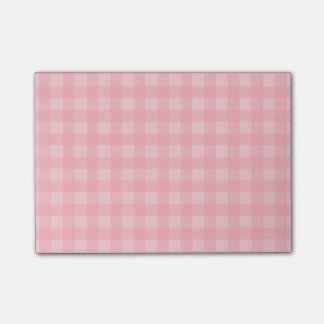 Retro Pink Gingham Checkered Pattern Background Post-it Notes
