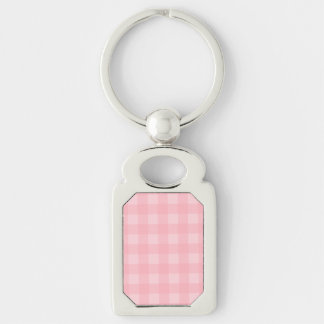 Retro Pink Gingham Checkered Pattern Background Silver-Colored Rectangle Key Ring