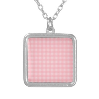 Retro Pink Gingham Checkered Pattern Background Square Pendant Necklace