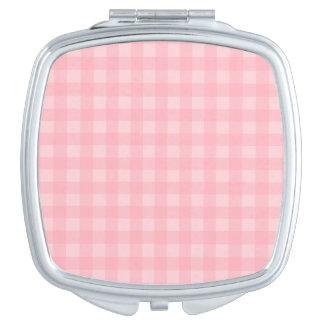 Retro Pink Gingham Checkered Pattern Background Travel Mirror