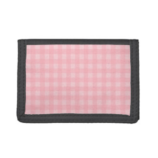 Retro Pink Gingham Checkered Pattern Background Trifold Wallet