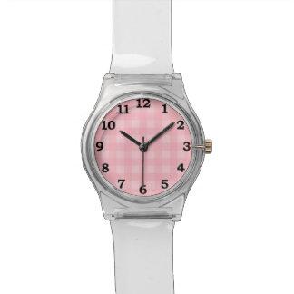Retro Pink Gingham Checkered Pattern Background Watch