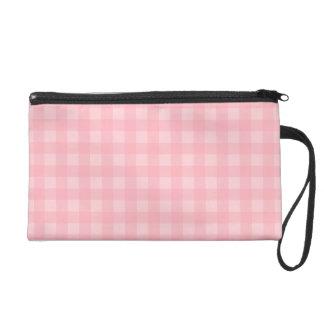Retro Pink Gingham Checkered Pattern Background Wristlet Clutch
