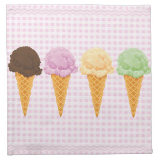 Retro Pink Gingham Ice Cream Cones Printed Napkins