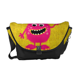 Retro Pink Girly Monster Courier Bag