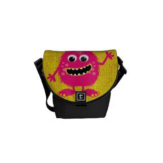 Retro Pink Girly Monster Messenger Bags