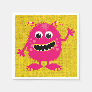 Retro Pink Girly Monster Paper Napkins