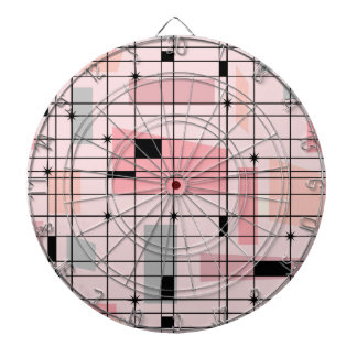 Retro Pink Grid and Starbursts Dart Board
