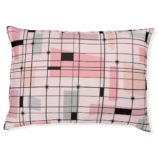 Retro Pink Grid and Starbursts Dog Bed