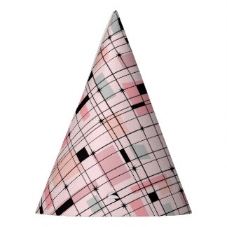 Retro Pink Grid and Starbursts Party Hat