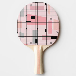 Retro Pink Grid and Starbursts Ping Pong Paddle