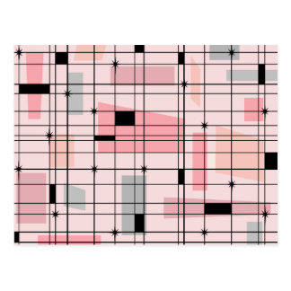 Retro Pink Grid and Starbursts Postcard