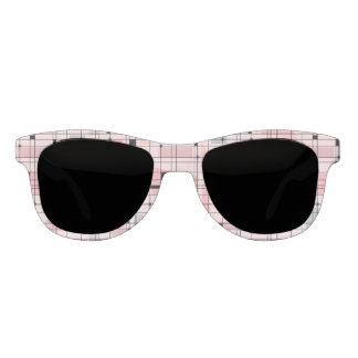 Retro Pink Grid and Starbursts Sunglasses