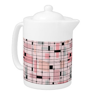 Retro Pink Grid and Starbursts Teapot
