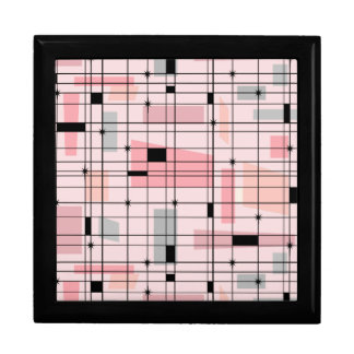 Retro Pink Grid and Starbursts Tile Gift Box
