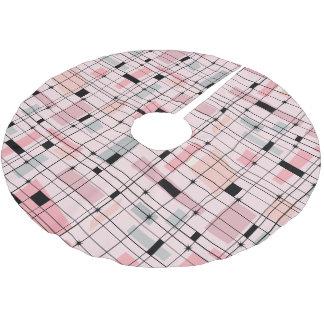 Retro Pink Grid and Starbursts Tree Skirt