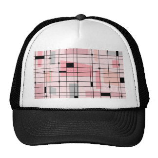 Retro Pink Grid and Starbursts Trucker Hat