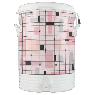Retro Pink Grid & Starbursts Igloo Beverage Cooler