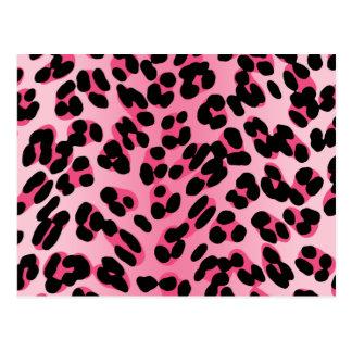 Retro Pink Leopard Print Postcard