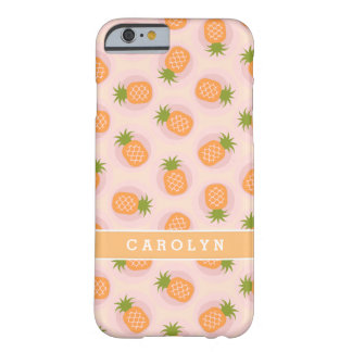 Retro pink orange pineapple patterns monogram barely there iPhone 6 case