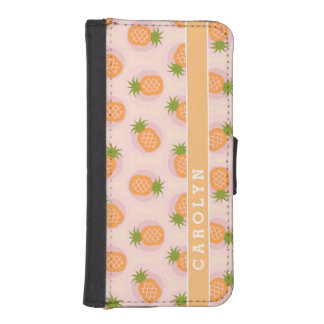 Retro pink orange pineapple patterns monogram iPhone SE/5/5s wallet case