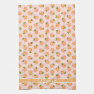 Retro pink orange pineapple patterns monogram tea towel