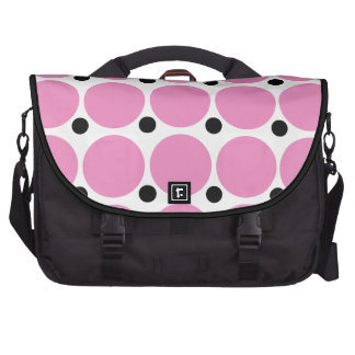 Retro Pink Polka Dot Abstract Art Laptop Commuter Bag