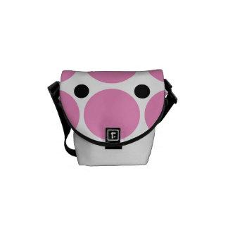 Retro Pink Polka Dot Abstract Art Courier Bag