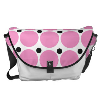 Retro Pink Polka Dot Abstract Art Courier Bags