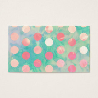 Retro Pink Polka Dots Hipster Turquoise Pattern Business Card