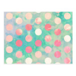 Retro Pink Polka Dots Hipster Turquoise Pattern Postcard